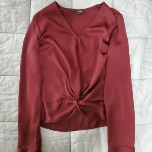Express Women's Size S Maroon Knot Blouse